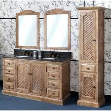 distressed bathroom vanity antique wk series inch rustic double sink natural oak finish black marble top