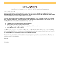 Leading Professional Nanny Cover Letter Examples Resources