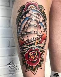 морская тату тату корабль тату на ноге тату олдскул