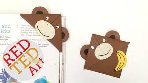 red ted art book easy monkey bookmark corner diy bonus video of red ted art book