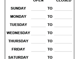 Store Hours Sign Template Free Hours Sign Template