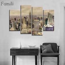 fashion hd printed new york city canvas painting children s room home decor paintings 4 panel frameless