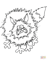 Small Picture Frightened Cartoon Black Cat coloring page Free Printable