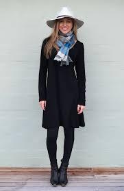 rib swing dress women s pull on black long sleeved heavyweight merino wool winter dress