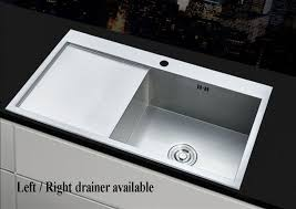 square 1 0 large bowl kitchen sink stainless steel lh rh drainer handmade sink