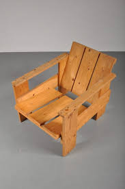 1960s pine wood crate chair after rietveld
