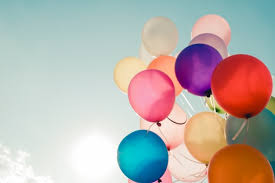 Colorful Balloons Flying On Sky With A Retro Vintage Filter