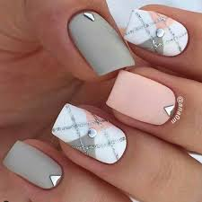 Checked pattern Summer squared nails. Rose pink and white grey ...