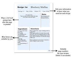Recipe Binder Templates Printable Recipe Book Template White Chalkboard Page