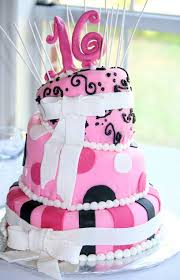 3 Tier Topsy Turvy Sweet 16 Pink Birthday Cake With White Bowsjpg