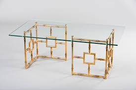 stylish glass and gold coffee table with antique gold bamboo and glass coffee table hc634