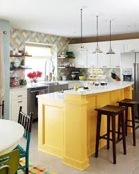 White And Yellow Kitchen Kitchen Modern Vintage Yellow Kitchen Idea With Breakfast Bar