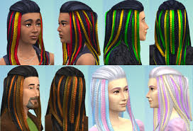 Mod The Sims: Vibrant Braids for Men + Women, Including New Men's Mesh by  Esmeralda ~ Sims 4 Hairs