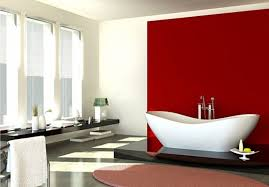 red bathroom color ideas. Oval Shaped Tub And Red Accent Wall For Modern Bathroom Decorating Ideas With White Interior Color H