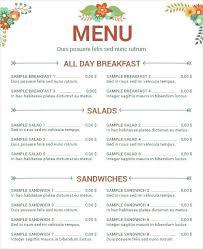 Menu Templates Docs Pages Free Sample Restaurant Template Format