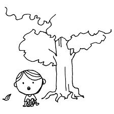 木の下でボーっとする男の子のフリーイラスト フリーイラストクラシック