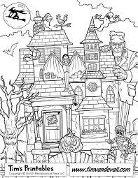 Small Picture Printable Haunted House Coloring Page