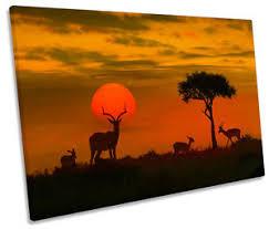 image is loading africa sunset wildlife safari canvas wall art picture  on safari canvas wall art with africa sunset wildlife safari canvas wall art picture print single