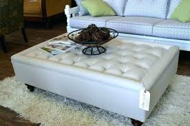 upholstered coffee table ottoman tables ottomans footstool round fabric white tufted with storage