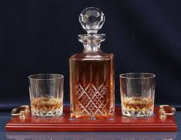 crystal scotch decanter set