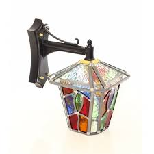 decorative multi coloured outdoor wall lantern