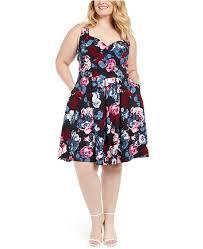 Trendy Plus Size Floral Print Fit Flare Dress