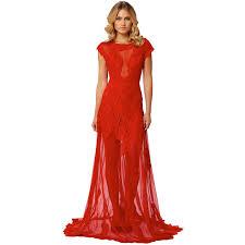 Langhem Lana White Lace Evening Dress