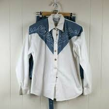 Lilia Smith Western Wear Women's Small 2-Piece Skirt Shirt Blue Denim White  | eBay