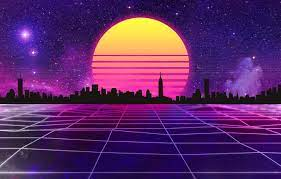 Retro Neon City Background ...
