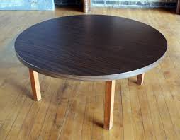 mcm style round laminate coffee table