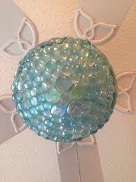 turquoise aqua ceiling fan light globe after diy makeover with aqua glass pebbles from the
