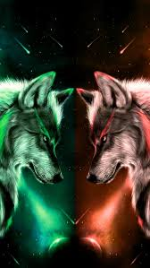 Wolves1, wolf, orange, green, HD mobile ...