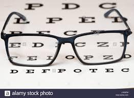 Reading Black Eyeglasses And Eye Chart Close Up Stock Photo