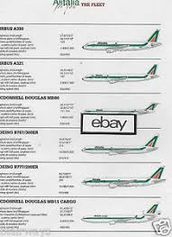 Details About Alitalia 2007 2 Pg Fleet Chart La Flotta A320 Md 11 Cargo 777 Md80 A321 Atr72