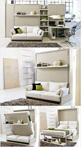 a murphy bed with a sofa and wall having a pull out desk
