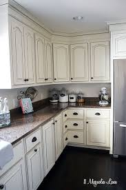 Off white country kitchens Shaker French Country Kitchen With Offwhite Cabinets And Copper Accents 11 Magnolia Lane Pinterest New Paint In Our Kitchen Kitchens Pinterest Kitchen Cabinets