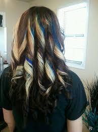 Subtle Blue Highlights Subtle Blue Streaks In Blonde Brown Hair Love The Curls And