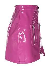 hot pink gloss pvc mini skirt