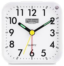 peakeep small battery operated og travel alarm clock silent no ticking white