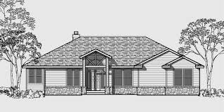 house front color elevation view for 10001 one story house plans daylight basement house plans