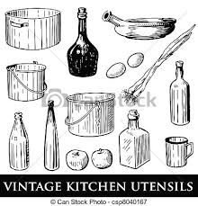 vintage kitchen utensils illustration. Exellent Illustration Vintage Kitchen Utensils  Csp8040167 On Vintage Kitchen Utensils Illustration Can Stock Photo
