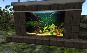 Prim by Prim: **PROMO** Low Prim MESH Stone Brick Fireplace w.  Fireplace_with_fish_tank_004 Fireplace_with_fish_tank_005  Fireplace_with_fish_tank_006 ...