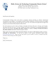 Parent Teacher Conference Letter Mast Community Charter School