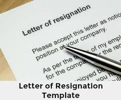 Letter Of Resignation Template