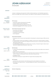 Php Developer Resume Samples Templates Visualcv