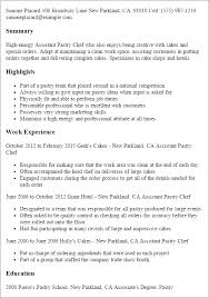 Resume Templates: Assistant Pastry Chef