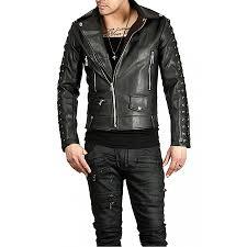 men s designer new style black leather biker jacket zoom men s