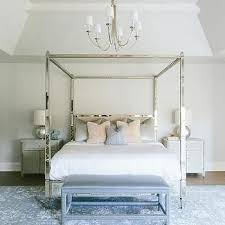 Antiqued Mirrored Canopy Bed with Gray Cabinet Nightstands | For the ...