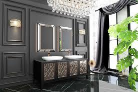 Casa Padrino Luxus Badezimmer Set Schwarz Gold Weiß 1 Waschtisch Mit 4 Türen Und 2 Waschbecken Und 2 Wandspiegel Luxus Qualität