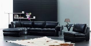 L Shape Black Leather Sofa With Chaise Lounge And Rectangular - Living room furnitures